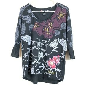 Desigual Women's Floral Knit Dolman Top 3/4 Sleeve
